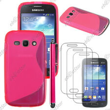 Housse Etui Coque Silicone Rose Samsung Galaxy Ace 3 S7270 + Stylet + 3 Films