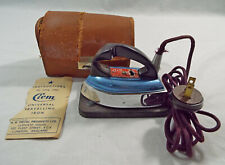 Vintage Clem Universal Traveling Iron in Real Hide Case and Metal Ironing Board
