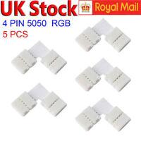 5 X L Shape 5050 RGB LED Strip Light Corner Connectors  Adapters 90 Degree Joint