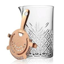 Glass Cocktail Mixing Jug Pitcher Copper Hawthorne Strainer Gift Boxed Bar Tools
