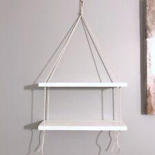 "Handmade Two-Tier Wood Wall Hanging Shelf 16"" Shelves White"