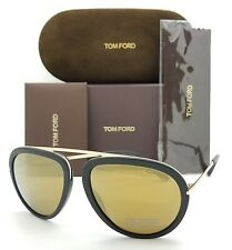 New Tom Ford Stacy sunglasses TF0452 02G 57 Black Gold Mirror AUTHENTIC Aviator