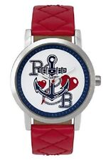 Paul's Boutique Women's Quartz Watch White Dial Analogue Display Red PU Strap