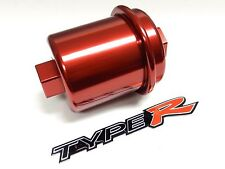 Red Racing High Flow Washable Fuel Filter For Acura Integra B18 Jdm Emblem