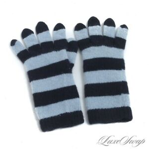 WINTER LUXE Portolano 100% PURE Cashmere Ice Blue Navy Striped Knit Gloves NR