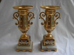 PAIR OF SUPERB ANTIQUE FRENCH ENAMELED GILT BRONZE VASES,LATE 19th CENTURY
