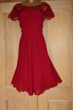 MONSOON Bordado Rojo Noche Ocasión Especial Boda Fiesta Vestido Talla 20