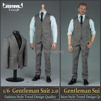 "VORTOYS V1005 1/6 Scale Grey Gentleman Suit 2.0 Clothing Set Fit 12"" Figure Toys"