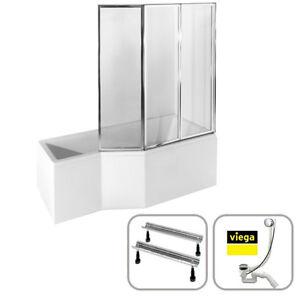 Eck-Badewanne Duschabtrennung Schürze 150x75 170x75 Siphon VIEGA INTEGRA A