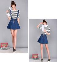 Women Denim Button A-Line Strappy Overall Removable Strap Short Mini Skirt Dress
