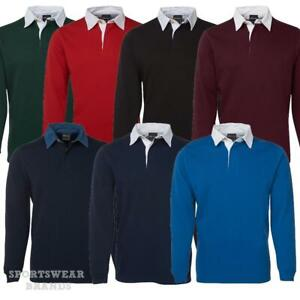 Adults Rugby Long Sleeve Polo Top Shirt Mens Contrast Sports Sizes S-5XL New 3R
