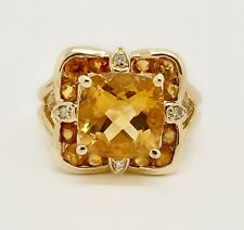 10K Yellow Gold 4.5 TCW Citrine and Diamond Cluster Cocktail Ring Size 6