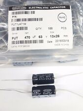 Pack 100 470uf 63V Electrolytic Capacitors Axial Unicon (opened bag)