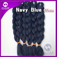 "24"" Navy Blue Kanekalon Jumbo Braiding Synthetic Hair Extension Twist Braids 80g"