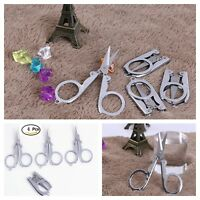 Folding Portable Travel Scissors Pack Of 4 Paper Crafting Key Chain Scissors