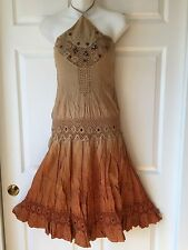 New Gorgeous Beautifully Embellished Beige-Orange Ombre Halter Dress_S, M, L