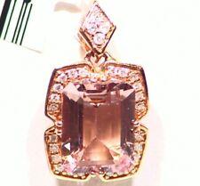 1.99CT 14K Gold Natural Morganite White Diamond Vintage Engagement Necklace Deco