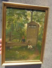 fine antique oil on board genre painting signed J H Buckingham