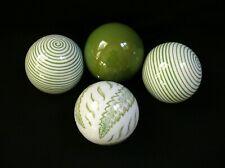 "4pc~Art Deco~Ceramic~Carpet Balls~3""~White&Green~ Striped~Ornate~Leaves Design~Ec"