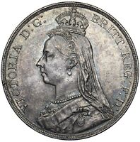 1891 CROWN - VICTORIA BRITISH SILVER COIN - V NICE