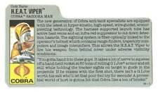 1989 Cobra HEAT Viper v.1 FILE CARD #3 gray filecard bio original GI Joe JTC