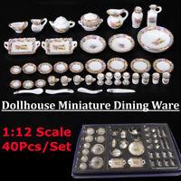 40Pcs Dollhouse Miniature Dining Ware Porcelain Tea Set Dish Plate Flowers Gift