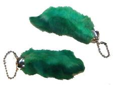 2 GREEN COLORED RABBIT FOOT KEY CHIANS novelty bunny fur hair feet ball chain