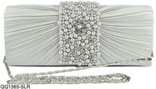 White Ladies Handbag Wedding Bridal Evening Bag Diamante Pearl Beads Decoration
