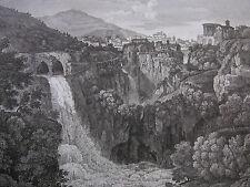 G. COTTAFAVI 'cascatelle di Tivoli, Lazio, traforo del Monte Catillo' 1843