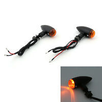 2 Black Amber Bullet Turn Signal Light For Softail Byna Sportster V-Rod B