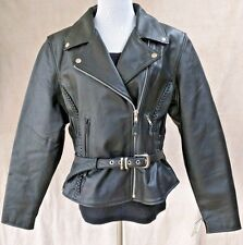 Women's Leather Motorcycle Riding Jacket Wrap Tailored Terminator Style Lined
