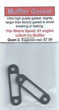 Aftermarket Muffler Gasket 2 Pack, Fits Webra Speed .61 w/Bolt-On Muffler NIP
