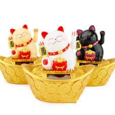 Lovely Lucky Cat Gold Ingot Base Fortune Waving Hand Powered Solar New