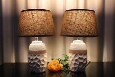 2 Lampen Nachttischlampe Tischlampe Leuchte Tischleuchte Keramik weiß braun