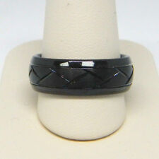 TRITON MEN'S 8.0MM COMFORT FIT DIAMOND CUT BLACK TUNGSTEN WEDDING BAND