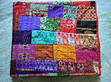 Vintage indian Patchwork quilt, Queen kantha quilt, kantha throw, kantha blanket