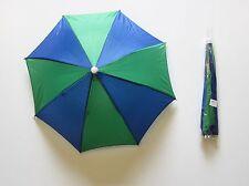 1 NEW BLUE AND GREEN UMBRELLA HAT CAP HANDS FREE ELASTIC HEAD BAND SHADE SPORTS