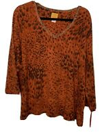 Ruby Rd. Size 3X Womens Copper Orange Animal Print Long Sleeve Top NWT