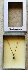 9ct Gold Necklace with square Blue Topaz Pendant Boxed NEW