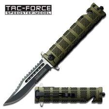 """Tac Force 8.5"""" Spring Assisted Folding Pocket Knife - Belt Cutter - Green"""