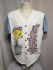 1994 Warner Bros Tweety playing Music Adult White XL Baseball Button Front Shirt