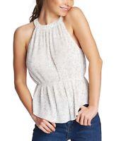 1. STATE Women Blouse White Size Small S Polka Dot Plisse Halter Peplum $89- 228