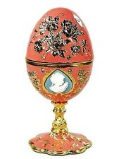 Jeweled Egg Ring Jewelry Box Cameo Pink Enamel Crystal Metal Trinket Box