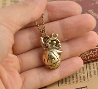 Vintage Man's Retro Anatomy Heart Hollow Retro Bronze ID Pendant Necklace Hot