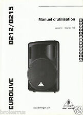 Behringer Eurolive B212/B215 Speakers Users Owners Manual Directions 15Languages