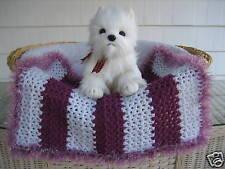 Fancy Dog Cat Bed Blanket Grape & White Stripe with Faux Fur Trim