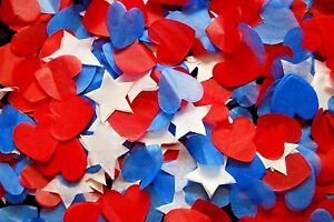 RED WHITE & BLUE - USA - United States - Heart confetti - Baby Shower - Wedding