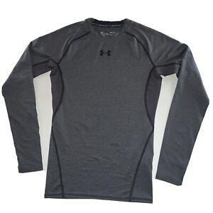 Men's Under Armour Heat Gear Long Sleeve Compression Shirt Gray Size Medium NEW