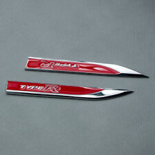 2Pcs Red Glossy Metal Type-R Side Fender Emblem Car Door Sport Badge For EK EG