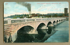 VINTAGE POSTCARD JOHN STREET BRIDGE APPLETON WI 1920s ST FACTORY RIVER SIDE VIEW